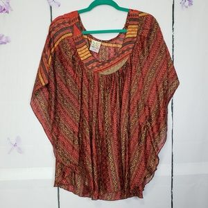 India Boutique Semi-Sheer Batwing Striped Blouse
